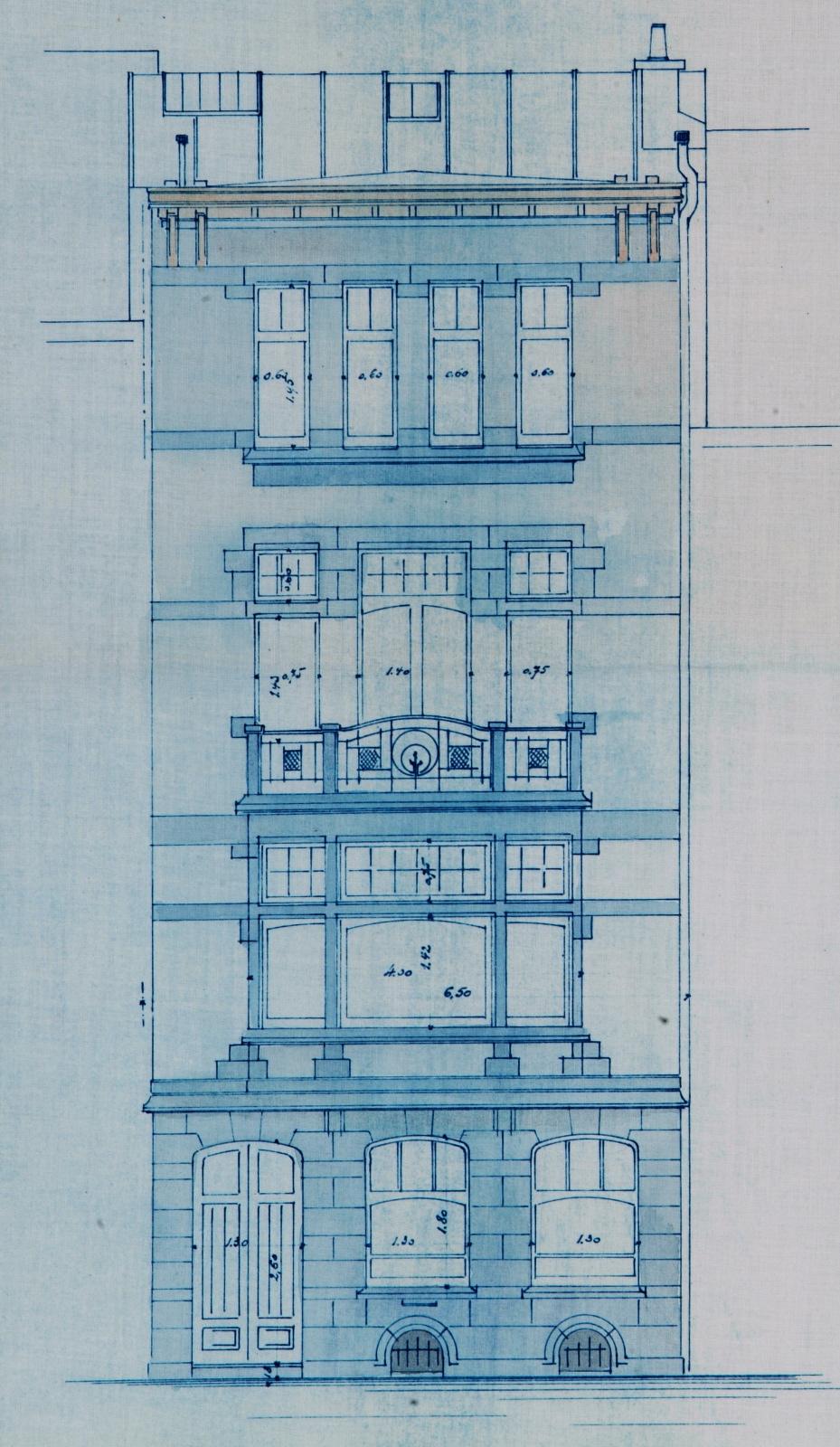 Chaussée de Vleurgat 184, maison d\'inspiration Art nouveau, aujourd\'hui abîmée par le percement d\'un r.d.ch. commercial, élévation, AVB/TP 1470 (1907).