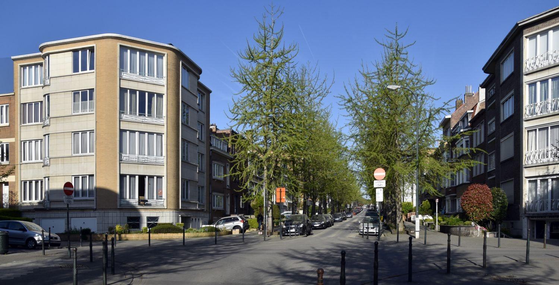 Avenue Jean-Baptiste Depaire, vue depuis l'avenue Kufferath vers l'ouest© ARCHistory / APEB, 2018