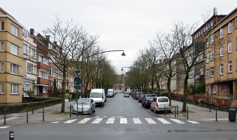 Rue Jean Heymans, vue depuis le square Léopold© ARCHistory / APEB, 2018