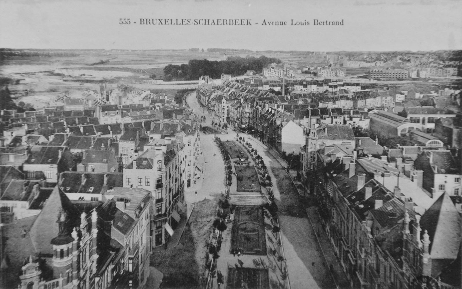Panoramisch zicht op de Louis Bertrandlaan vanop de Sint-Servaaskerk© (Huis der Kunsten van Schaarbeek/lokaal fonds)
