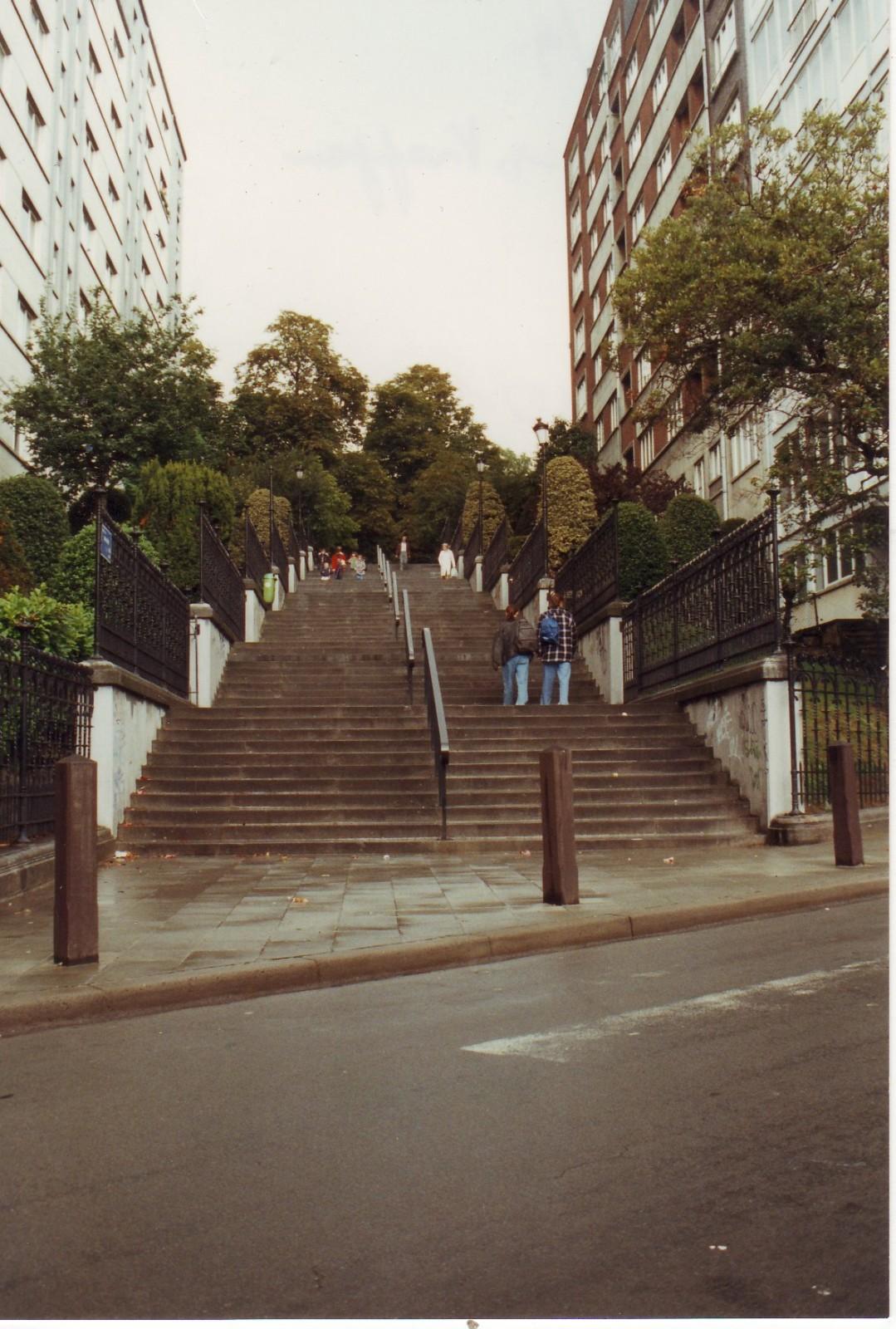 Vue sur les escaliers du Mont du Cinquantenaire depuis la chaussée Saint-Pierre., 1993