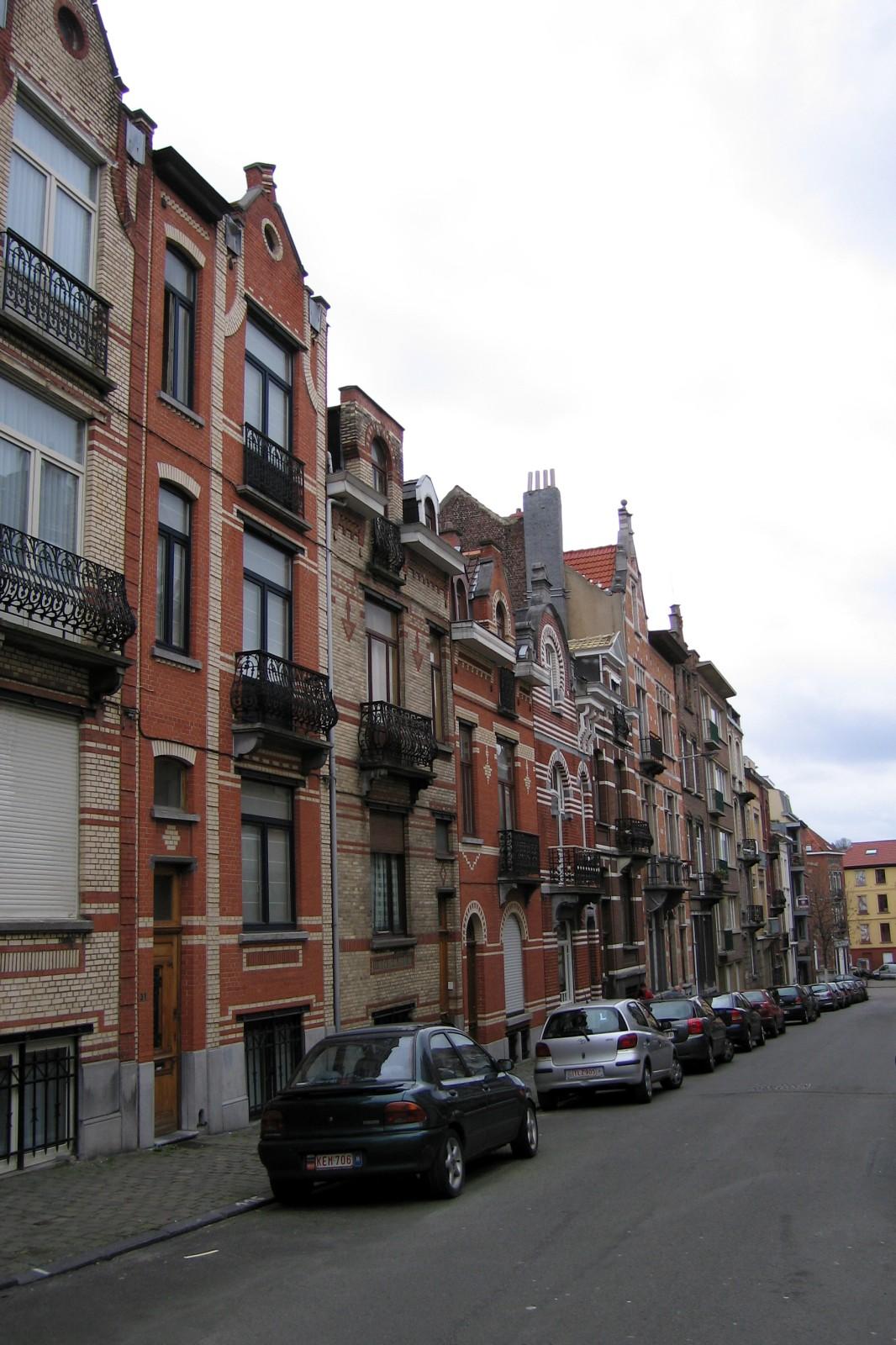 Rue Ernest Havaux, côté impair, vue vers la rue de Theux., 1993