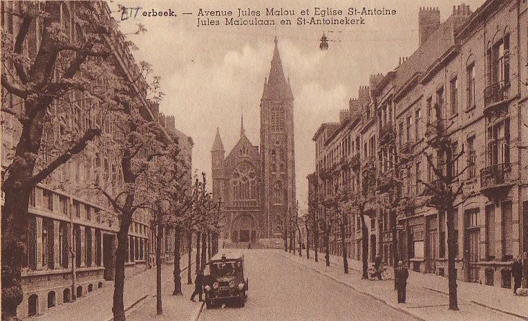 Avenue Jules Malou vers l\'église Saint-Antoine, s.d. (Collection de Dexia Banque).
