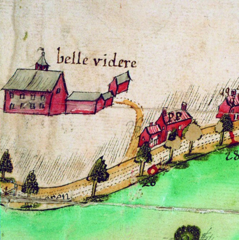 Le manoir dit Le Belvédère au milieu du XVIIIesiècle © (© AGR, Cartes et plans, inventaire manuscrit, 643).