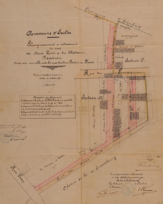 Rue du Château, plan d\'aménagement par l\'arrêté royal du 06.04.1893,© ACI/TP 67 (1893).