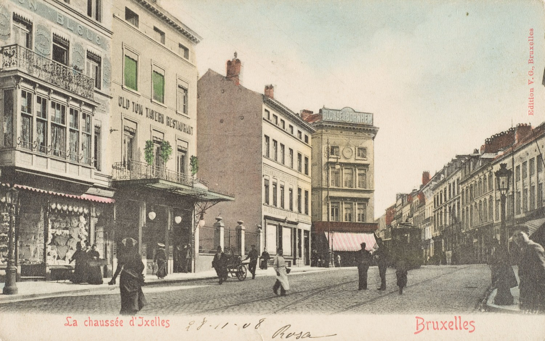 Kruispunt van Waverse- met Elsensesteenweg, ca. 1910 © (Verzameling Dexia Bank).