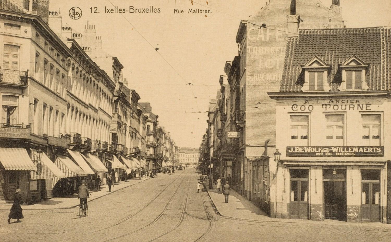 Rue Malibran, vue depuis la place E. Flagey vers la rue du Trône, vers 1900© (Collection Dexia Banque)