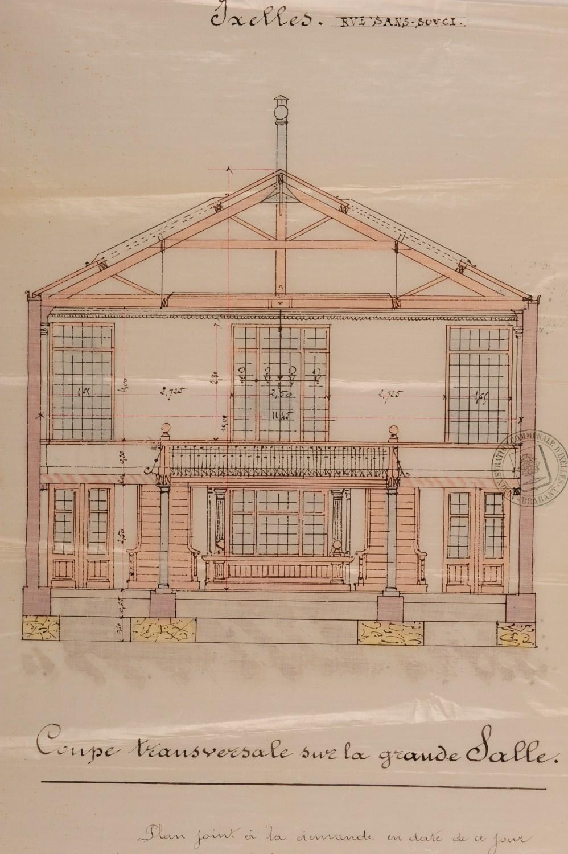 Sans Soucistraat 132, gesloopte Maison des ouvriers, La Paix, doorsnede, © GAE/DS 270-132 (1889).