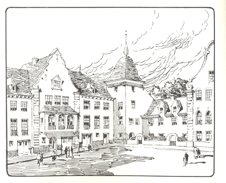 Tekening van A. Blomme, huizengroep achter de doorgang © Rythme, 10, 1951, p. 6.
