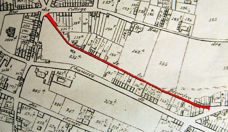 Rue de de la Discorde, aujourd\'hui rue de Venise, en 1866© (POPP, P. C., Atlas cadastral de Belgique, Plan parcellaire de la commune d'Ixelles avec les mutations, Bruxelles, 1866. Détail).