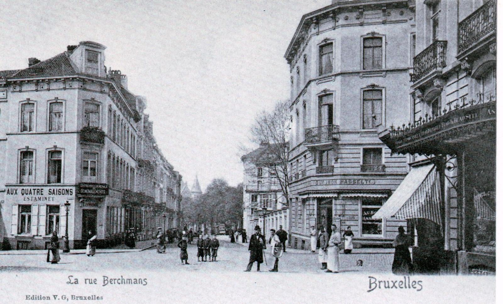 Rue Berckmans, croisement de la rue de l\'Hôtel des Monnaies (Collection de Dexia Banque, avant 1907).
