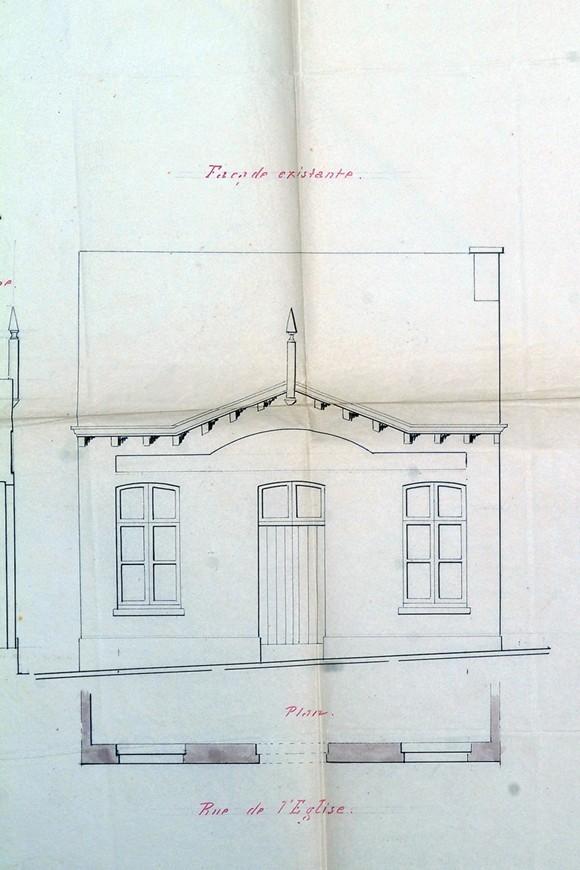Rue de l\'Eglise Saint-Gilles 26, élévation de la façade avant exhaussement, ACSG/Urb. 422 (1851).