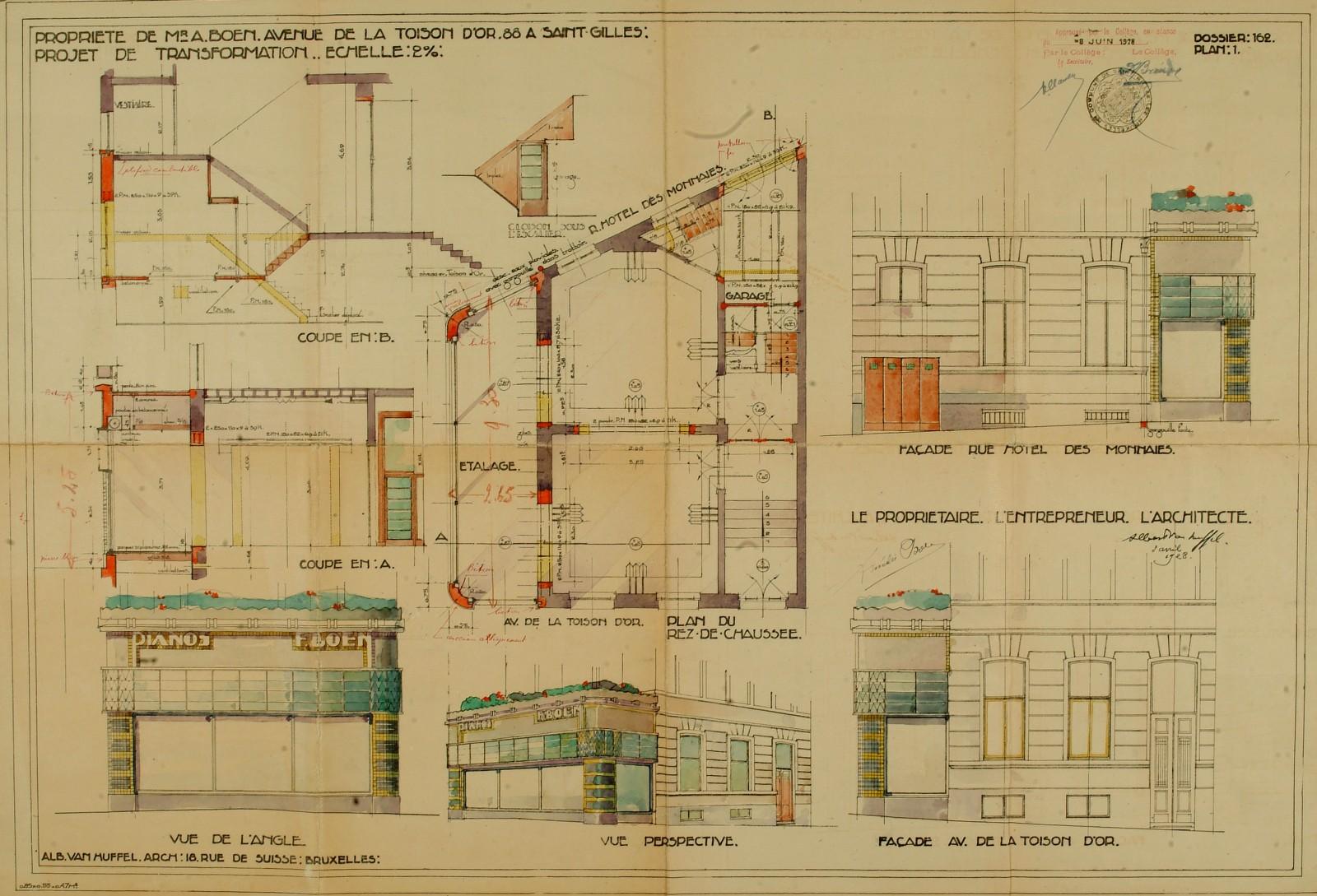 Avenue Henri Jaspar 88, plans des transformations de 1928, ACSG/Urb. 142 (1928).