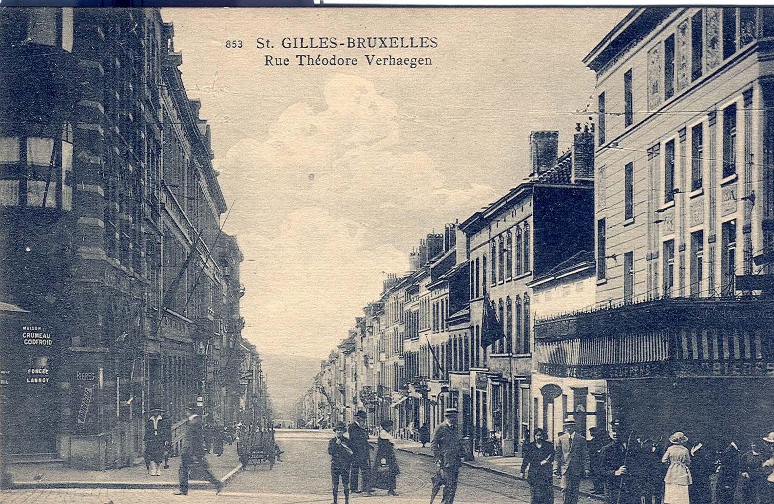 Rue Théodore Verhaegen, vue depuis la Barrière (Collection de Dexia Banque, s.d.).