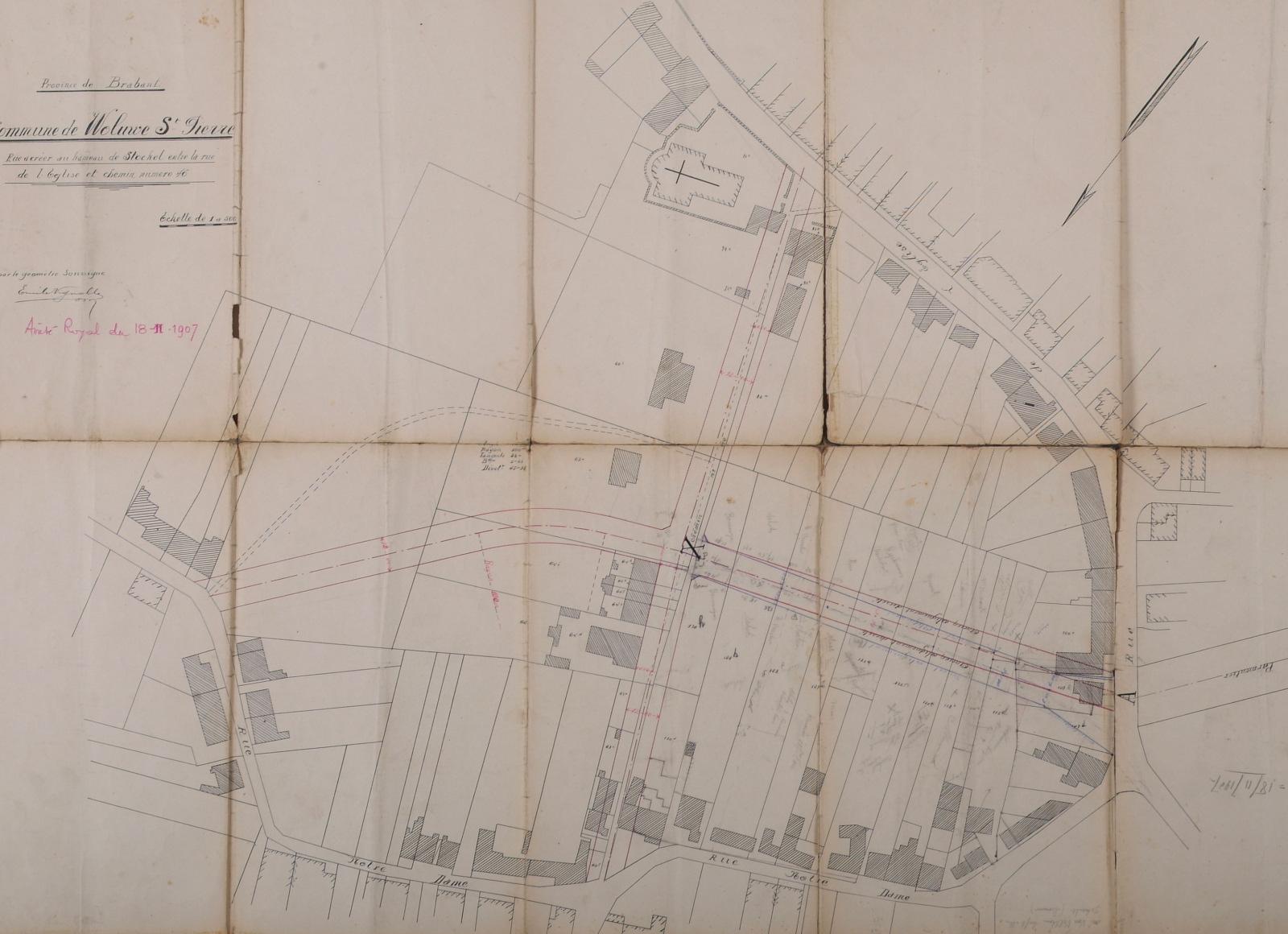 Le tracé de la rue Jean-Baptiste Lepage, approuvé par l'arrêté royal du 18.11.1907 (ACWSP/Urb. alignement 25).