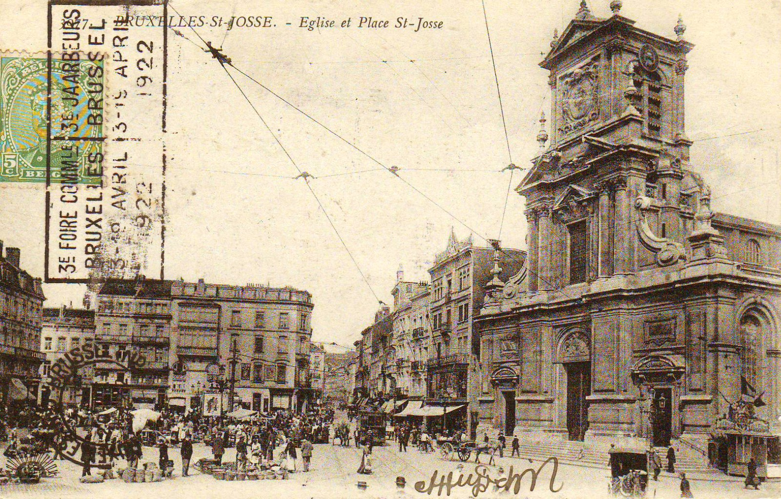 La place Saint-Josse et l\'église Saint-Josse, s.d. (Collection de Dexia Banque).